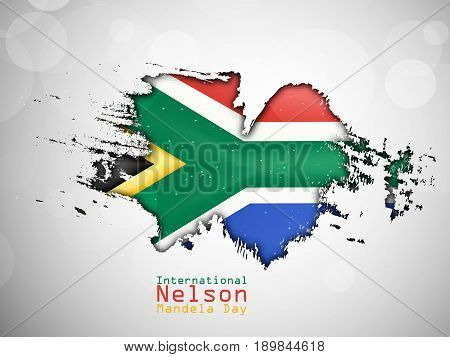 illustration of South Africa Map in south Africa flag background with International Nelson Mandela Day Text