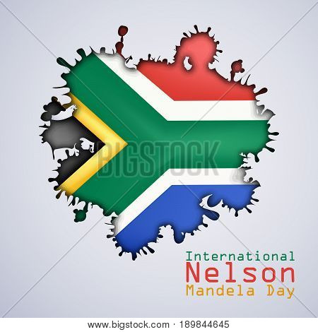illustration of South Africa flag design with International Nelson Mandela Day Text