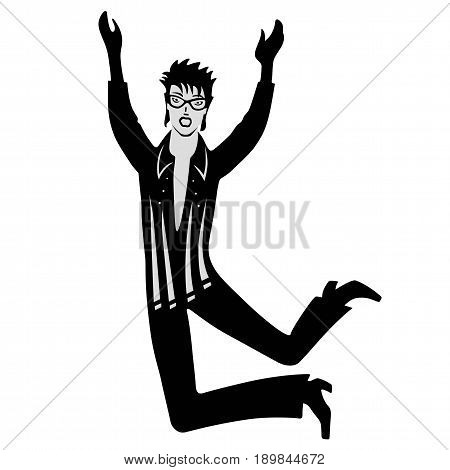 Full length front view man artist (dancer singer) isolated on white background. Vector illustration. You can use this image for fashion design and etc.
