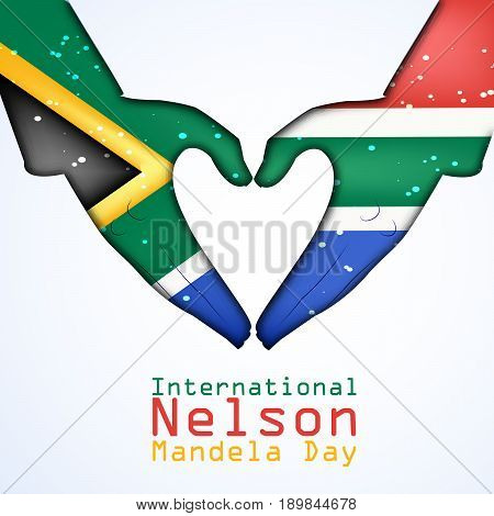 illustration of hands in south Africa flag background with International Nelson Mandela Day text