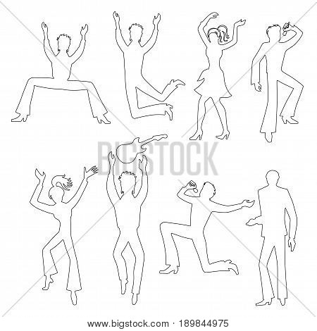 Full length front view grope of artists (dancers singers musicians) isolated on white background. Vector illustration.