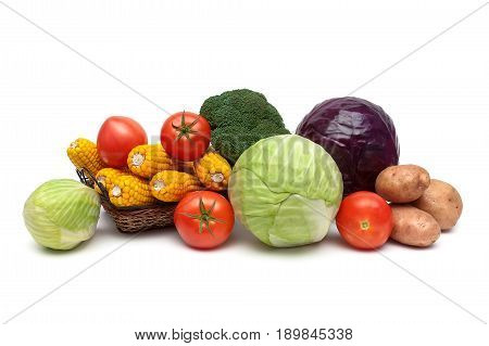 Ripe fresh vegetables isolated on white background. Horizontal photo.