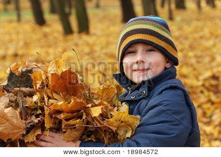 Glückliche 6 Jahre alten Kind und Herbst Blätter in einem Park. Kind hat Spaß beim Spielen im Herbstblätter.