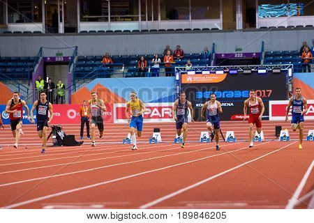 BELGRADE SERBIA - MARCH 3-5 2017: MAN 60M HEPTATHLON DUDAS MIHAIL BRYANT ASHLEY PESIC DARKO UIBO MAICEL SAMUELSSON FREDRIK AUZEIL BASTIEN PITTOMVILS NIELS BRUGGER MATHIAS EUROPEAN ATHLETICS INDOOR CHAMPIONSHIPS IN BELGRADE SERBIA