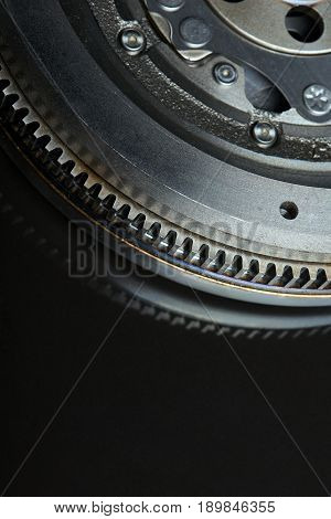 Closeup cropped image of Dual-Mass Flywheel on black