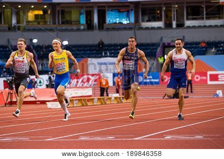 BELGRADE SERBIA - MARCH 3-5 2017: MAN 60M HEPTATHLON DUDAS MIHAIL BRYANT ASHLEY SAMUELSSON FREDRIK BRUGGER MATHIAS EUROPEAN ATHLETICS INDOOR CHAMPIONSHIPS IN BELGRADE SERBIA
