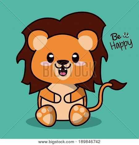 color background with cute kawaii animal lion with mane vector illustration