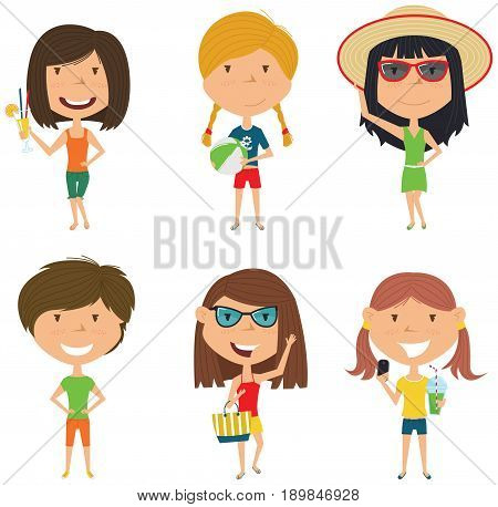 Summer female characters vector illustration. Happy girls standing with refreshing drink and coctail ball with beach bag make a selfie. Vector flat style teens isolated in white background.