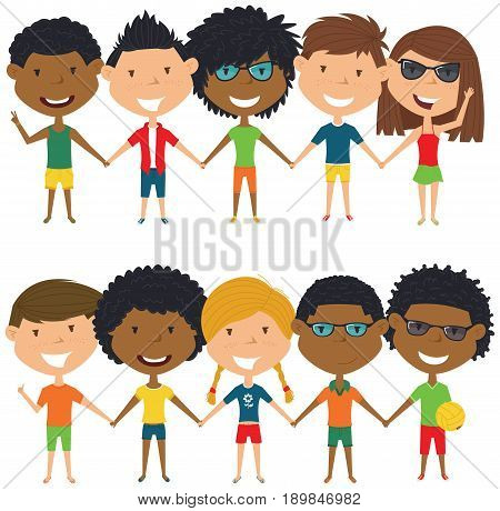 Multiracial people standing and holding hands. Vector set of multicultural happy boys and girls. Collection of cute female and male characters. Happy teenagers on summer vacation.