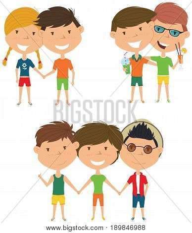 Summer people standing and holding hands. Vector set of happy boys and girls. Collection of cute female and male characters. Smiling friends on summer vacation.