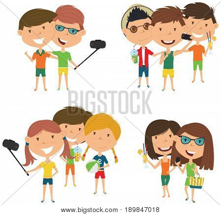 Summer male and female characters make a selfie vector illustration. Happy cute girls and boys do group summer photos. Friendly teens posing in front of the camera smartphone.