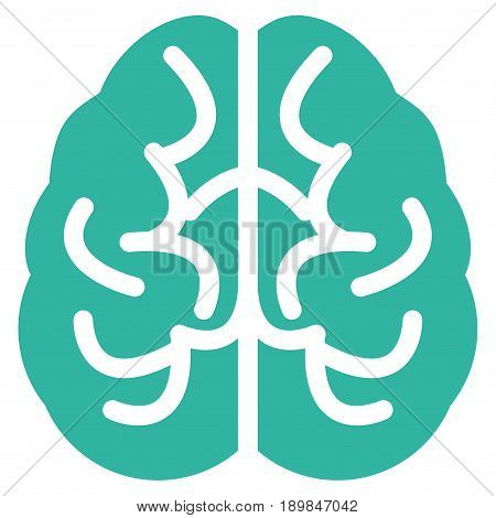 Cyan Brain toolbar icon. Vector pictograph style is a flat symbol on diagonal hatch transparent background.