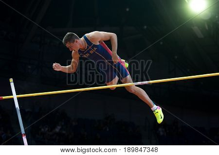 BELGRADE SERBIA - MARCH 3-5 2017: MAN HEPTATHLON POLE VAULT DUDAS MIHAIL EUROPEAN ATHLETICS INDOOR CHAMPIONSHIPS IN BELGRADE SERBIA