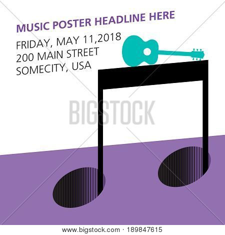 A guitar on a musical note page template for print or web