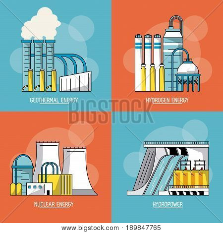 multicolored sections background with type of renewable energy vector illustration