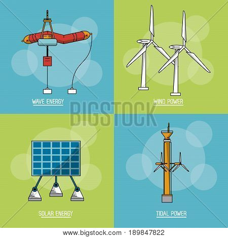 multicolored square background with type of renewable energy vector illustration
