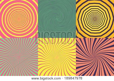 Set of different psychedelic spiral, vortex, twirl. Vector colorful backgrounds collection