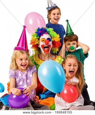 Birthday child clown playing with children and bunny fingers prank. Kid holiday cakes celebratory and balloons the happiest birthday. Fun of group people pose for camera on white background. Holiday