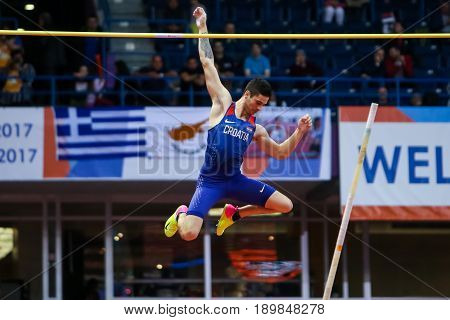 BELGRADE SERBIA - MARCH 3-5 2017: POLE VAULT IVAN HORVAT EUROPEAN ATHLETICS INDOOR CHAMPIONSHIPS IN BELGRADE SERBIA