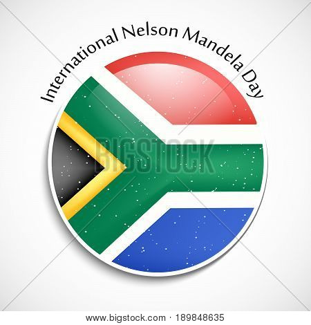 illustration of button in south Africa button with International Nelson Mandela Day text