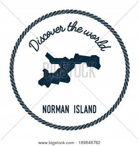 Norman Island Map In Vintage Discover The World Insignia. Hipster Style Nautical Postage Stamp, With
