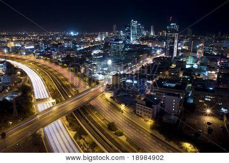 Tel Aviv Skyline - Tel Aviv at twilight / The night city /  View of Tel Aviv by night.