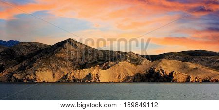lovely sundown with view on the island Prvic, taken from Baska, Croatia