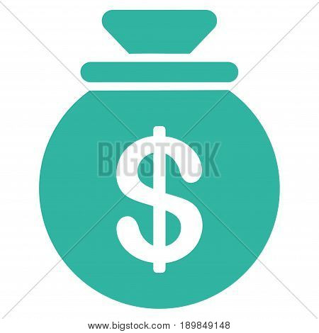 Cyan Money Bag interface toolbar icon. Vector pictogram style is a flat symbol on diagonal hatch transparent background.