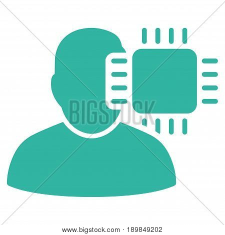 Cyan Neuro Interface interface toolbar icon. Vector pictograph style is a flat symbol on diagonal hatch transparent background.