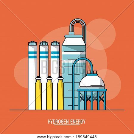 orange color background with bubbles of hydrogen energy production plant vector illustration