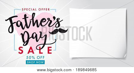 Fathers Day special offer SALE banner lettering light. Special offer Fathers Day, Sale vector greeting background with text on rose heart and mustache