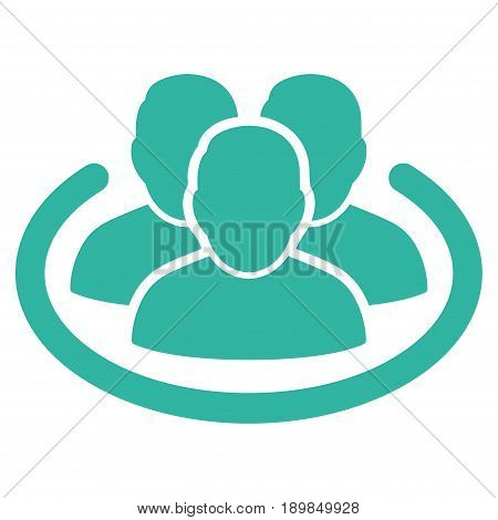 Cyan Social Ring interface toolbar icon. Vector pictogram style is a flat symbol on diagonal hatch transparent background.