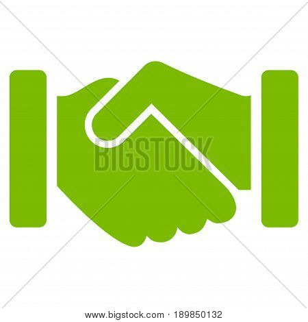 Eco Green Agreement Handshake toolbar pictogram. Vector pictogram style is a flat symbol on diagonal hatch transparent background.