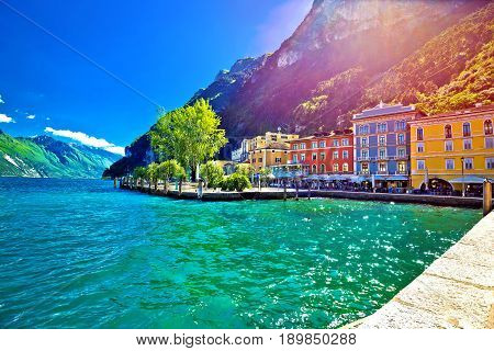 Riva Del Garda Waterfront View At Sunset