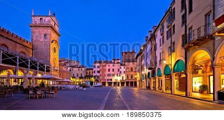 Mantova City Piazza Delle Erbe Evening View Panorama