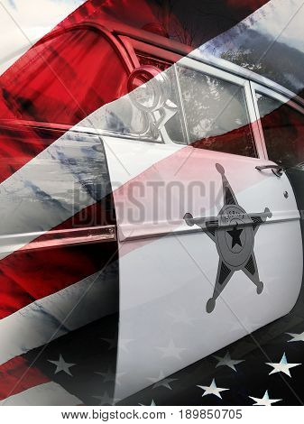 Police car. Sheriff star on the door. American flag on background