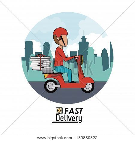 circular frame poster city landscape with fast pizza delivery man in red scooter vector illustration
