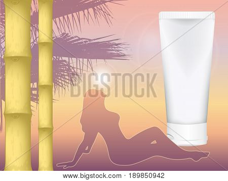 realistic vector cosmetic tube for cream amid the southern dusk. sunset. girl sunbathing in the rays of the sun. bamboo. mock up