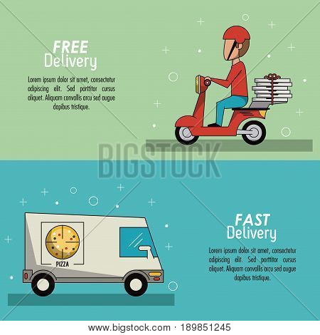 color poster banner scene fast delivery in pizza truckposter and delivery man in red scooter vector illustration