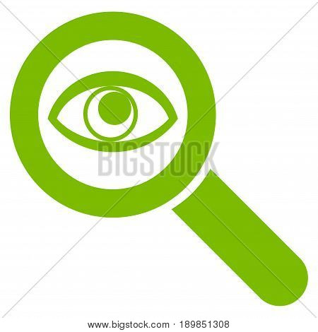 Eco Green Eye Explore toolbar pictogram. Vector pictograph style is a flat symbol on diagonal hatch transparent background.