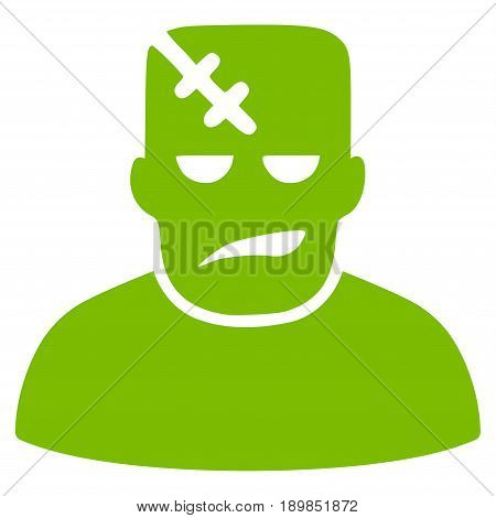Eco Green Frankenstein interface toolbar icon. Vector pictograph style is a flat symbol on diagonal hatch transparent background.
