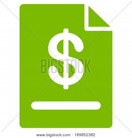 Eco Green Invoice interface pictogram. Vector pictograph style is a flat symbol on diagonal hatch transparent background.