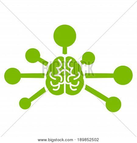 Eco Green Mind Control Links interface toolbar icon. Vector pictograph style is a flat symbol on diagonal hatch transparent background.