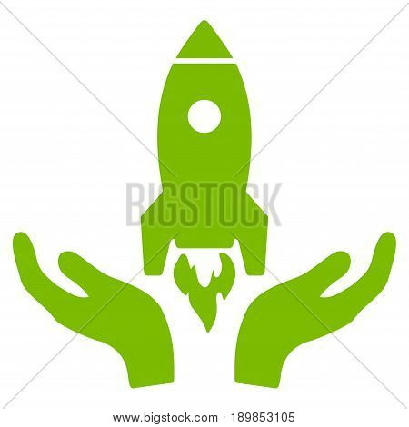 Eco Green Rocket Startup interface toolbar pictogram. Vector pictogram style is a flat symbol on diagonal hatch transparent background.