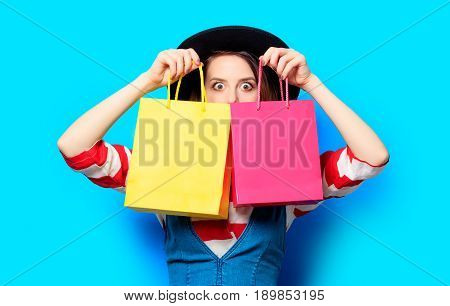 Woman With Colour Shopping Bags