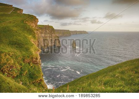 Epic Views From The Cliffs Of Moher In County Clare Ireland. Ireland's Number 1 Tourist Attraction.
