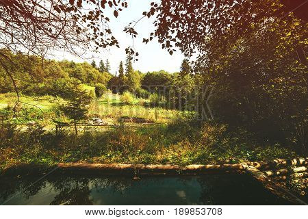 Wooden bathhouse near pond in the evening. Forest landskype.