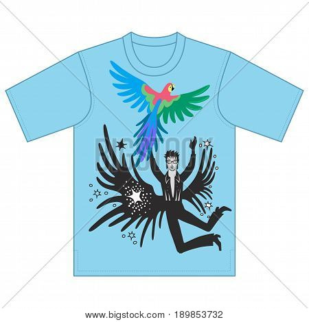 Full length front view of artist performances that catches parrot tshirt design. Vector illustration isolated on white background