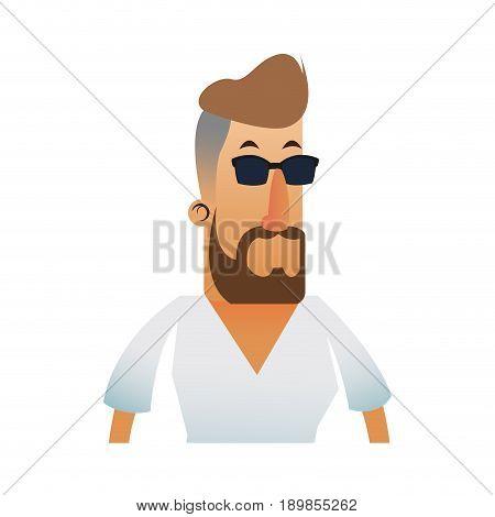 bearded man wearing tight v neck shirt  icon image vector illustration design