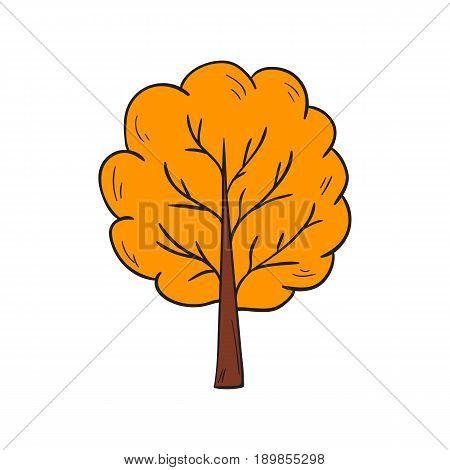 Vector Cartoon Hand Drawn Yellow Autumn Tree